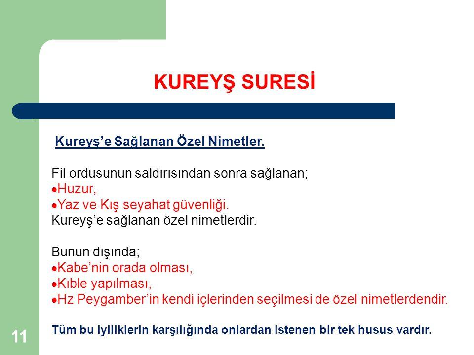 11 KUREYŞ SURESİ Kureyş'e Sağlanan Özel Nimetler.