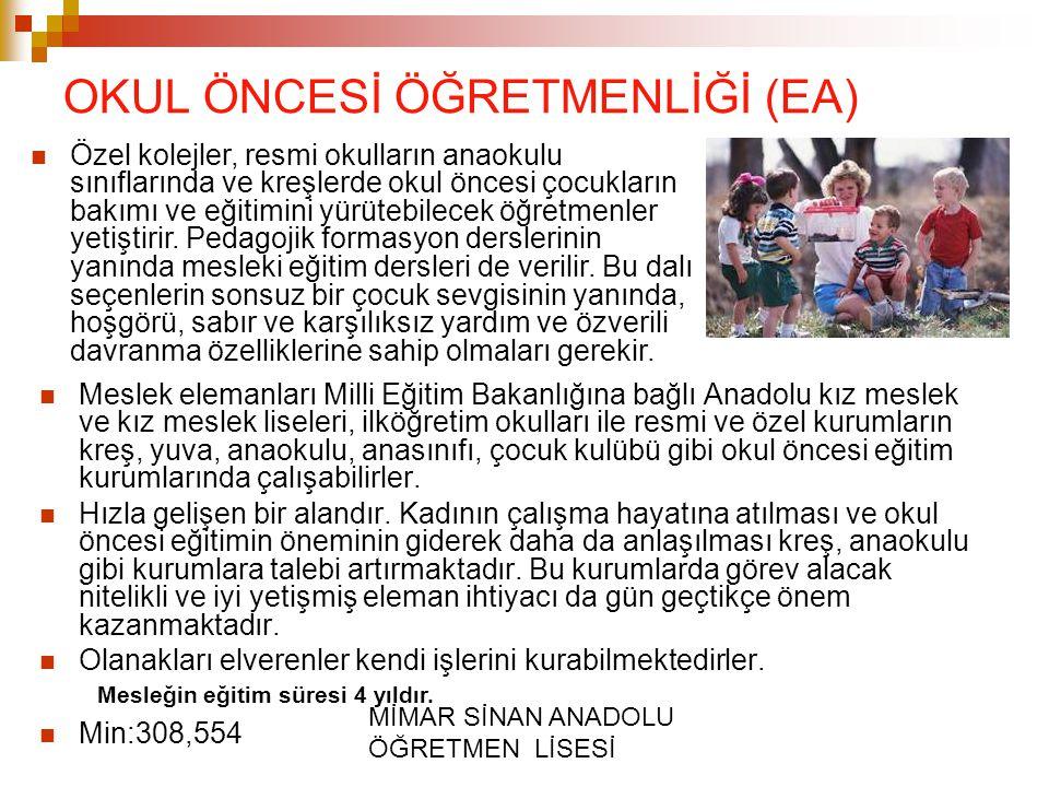 MİMAR SİNAN ANADOLU ÖĞRETMEN LİSESİ OKUL ÖNCESİ ÖĞRETMENLİĞİ (EA) Meslek elemanları Milli Eğitim Bakanlığına bağlı Anadolu kız meslek ve kız meslek li