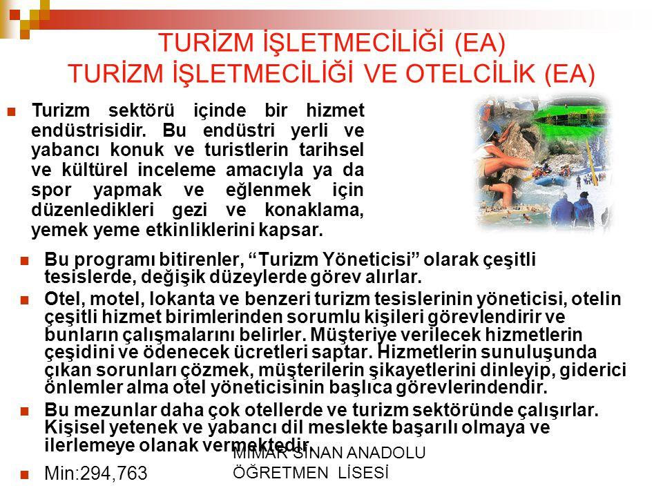 """MİMAR SİNAN ANADOLU ÖĞRETMEN LİSESİ TURİZM İŞLETMECİLİĞİ (EA) TURİZM İŞLETMECİLİĞİ VE OTELCİLİK (EA) Bu programı bitirenler, """"Turizm Yöneticisi"""" olara"""