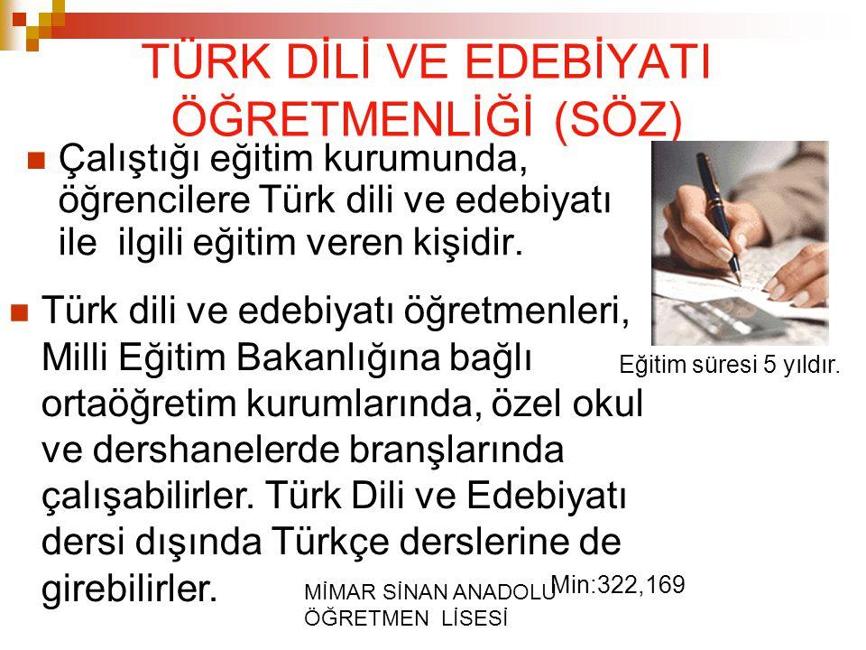 MİMAR SİNAN ANADOLU ÖĞRETMEN LİSESİ TÜRK DİLİ VE EDEBİYATI ÖĞRETMENLİĞİ (SÖZ) Çalıştığı eğitim kurumunda, öğrencilere Türk dili ve edebiyatı ile ilgil