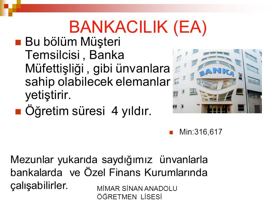 MİMAR SİNAN ANADOLU ÖĞRETMEN LİSESİ BANKACILIK (EA) Bu bölüm Müşteri Temsilcisi, Banka Müfettişliği, gibi ünvanlara sahip olabilecek elemanlar yetiştirir.