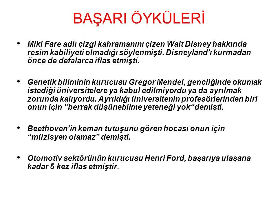 BAŞARI ÖYKÜLERİ Miki Fare adlı çizgi kahramanını çizen Walt Disney hakkında resim kabiliyeti olmadığı söylenmişti.