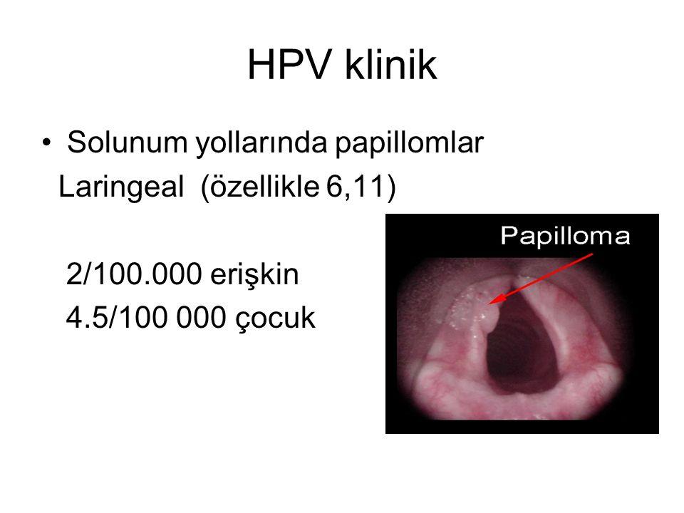 HPV klinik Solunum yollarında papillomlar Laringeal (özellikle 6,11) 2/100.000 erişkin 4.5/100 000 çocuk