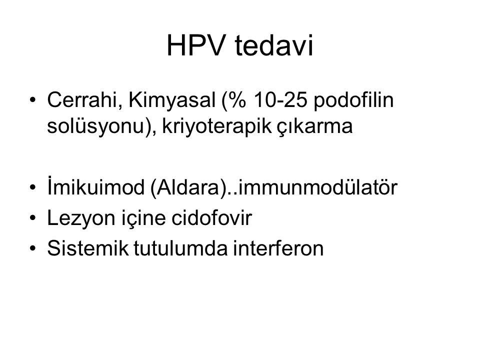 HPV tedavi Cerrahi, Kimyasal (% 10-25 podofilin solüsyonu), kriyoterapik çıkarma İmikuimod (Aldara)..immunmodülatör Lezyon içine cidofovir Sistemik tu
