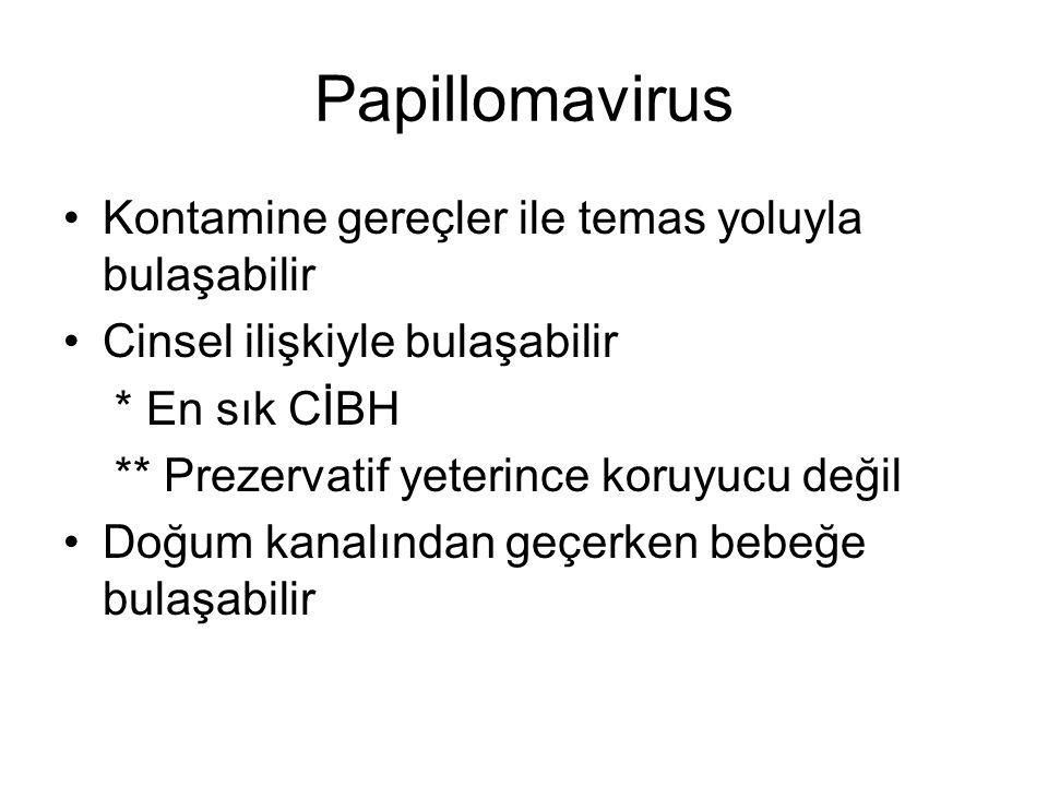 Papillomavirus Kontamine gereçler ile temas yoluyla bulaşabilir Cinsel ilişkiyle bulaşabilir * En sık CİBH ** Prezervatif yeterince koruyucu değil Doğ