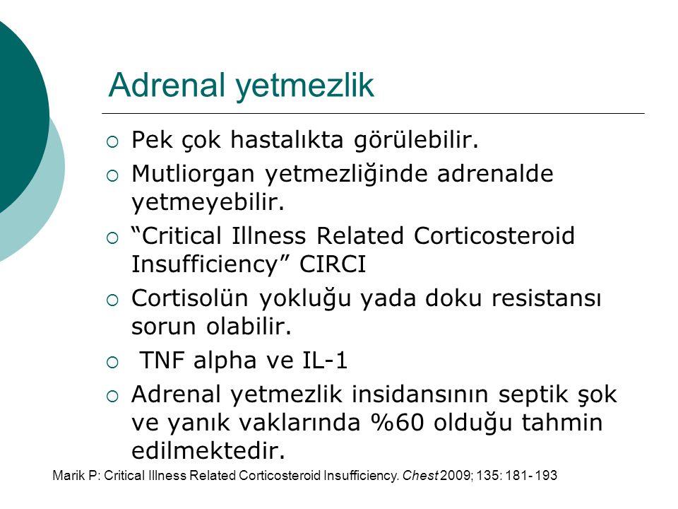 Adrenal yetmezlik  Pek çok hastalıkta görülebilir.