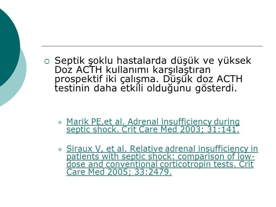  Septik şoklu hastalarda düşük ve yüksek Doz ACTH kullanımı karşılaştıran prospektif iki çalışma.