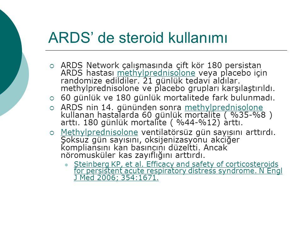 ARDS' de steroid kullanımı  ARDS Network çalışmasında çift kör 180 persistan ARDS hastası methylprednisolone veya placebo için randomize edildiler.