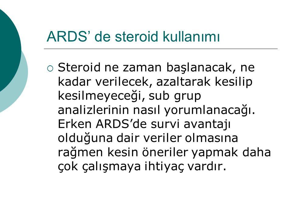 ARDS' de steroid kullanımı  Steroid ne zaman başlanacak, ne kadar verilecek, azaltarak kesilip kesilmeyeceği, sub grup analizlerinin nasıl yorumlanacağı.
