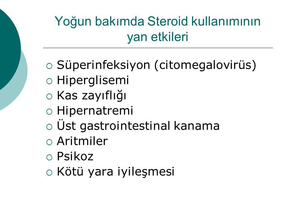 Yoğun bakımda Steroid kullanımının yan etkileri  Süperinfeksiyon (citomegalovirüs)  Hiperglisemi  Kas zayıflığı  Hipernatremi  Üst gastrointestinal kanama  Aritmiler  Psikoz  Kötü yara iyileşmesi