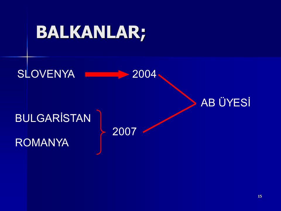 15 BALKANLAR; SLOVENYA BULGARİSTAN ROMANYA 2004 2007 AB ÜYESİ