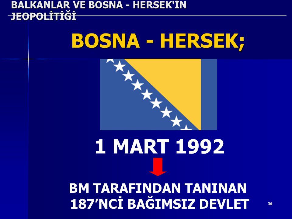 36 BALKANLAR VE BOSNA - HERSEK'İN JEOPOLİTİĞİ BOSNA - HERSEK; 1 MART 1992 BM TARAFINDAN TANINAN 187'NCİ BAĞIMSIZ DEVLET