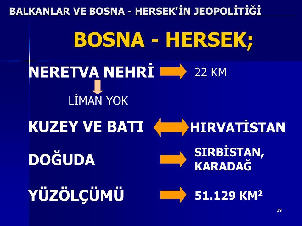 39 BALKANLAR VE BOSNA - HERSEK'İN JEOPOLİTİĞİ BOSNA - HERSEK; NERETVA NEHRİ 22 KM LİMAN YOK KUZEY VE BATI HIRVATİSTAN DOĞUDA SIRBİSTAN, KARADAĞ YÜZÖLÇ