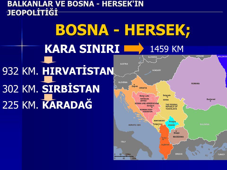 40 BALKANLAR VE BOSNA - HERSEK'İN JEOPOLİTİĞİ BOSNA - HERSEK; KARA SINIRI 1459 KM 932 KM. HIRVATİSTAN 302 KM. SIRBİSTAN 225 KM. KARADAĞ