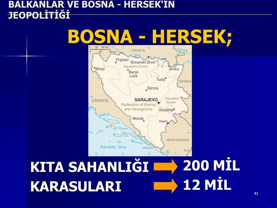41 BALKANLAR VE BOSNA - HERSEK'İN JEOPOLİTİĞİ BOSNA - HERSEK; KITA SAHANLIĞI 200 MİL KARASULARI 12 MİL