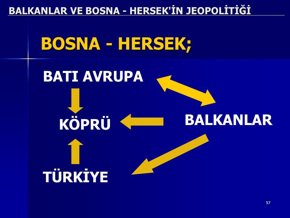 57 BALKANLAR VE BOSNA - HERSEK'İN JEOPOLİTİĞİ BOSNA - HERSEK; BATI AVRUPA KÖPRÜ TÜRKİYE BALKANLAR