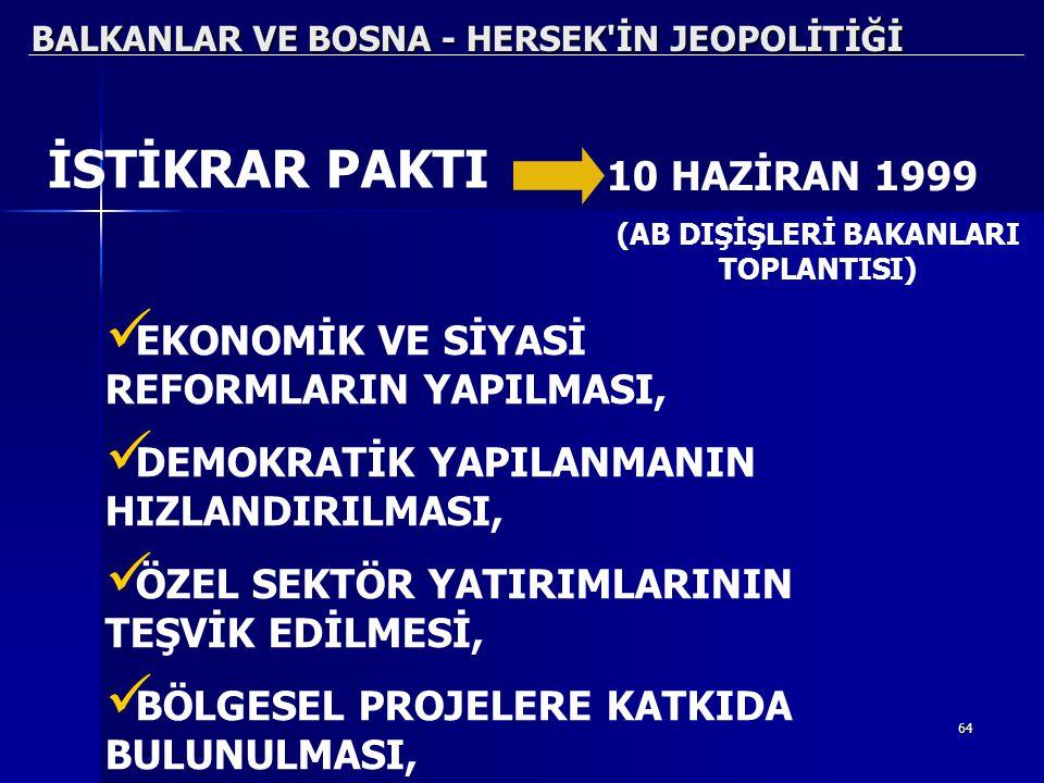 64 BALKANLAR VE BOSNA - HERSEK'İN JEOPOLİTİĞİ EKONOMİK VE SİYASİ REFORMLARIN YAPILMASI, DEMOKRATİK YAPILANMANIN HIZLANDIRILMASI, ÖZEL SEKTÖR YATIRIMLA