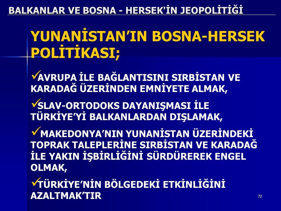 72 BALKANLAR VE BOSNA - HERSEK'İN JEOPOLİTİĞİ YUNANİSTAN'IN BOSNA-HERSEK POLİTİKASI; AVRUPA İLE BAĞLANTISINI SIRBİSTAN VE KARADAĞ ÜZERİNDEN EMNİYETE A