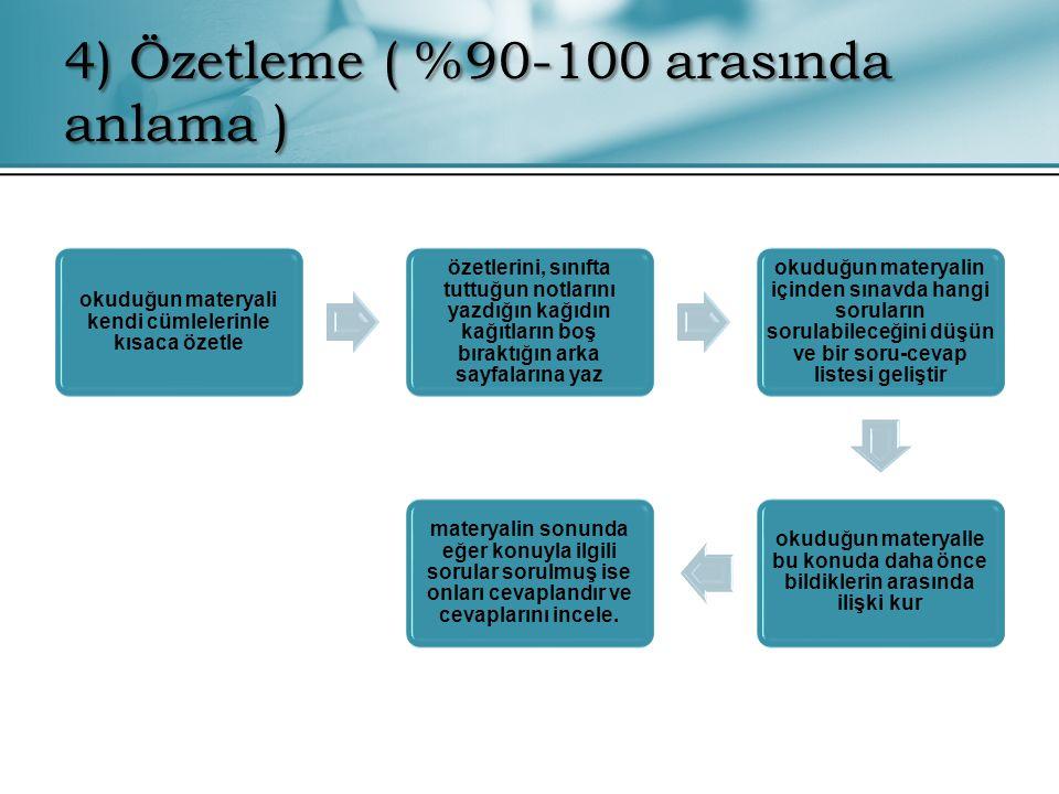 4) Özetleme ( %90-100 arasında anlama )