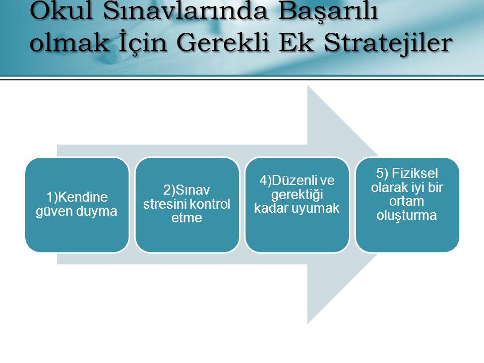 1)Kendine güven duyma 2)Sınav stresini kontrol etme 4)Düzenli ve gerektiği kadar uyumak 5) Fiziksel olarak iyi bir ortam oluşturma Okul Sınavlarında B