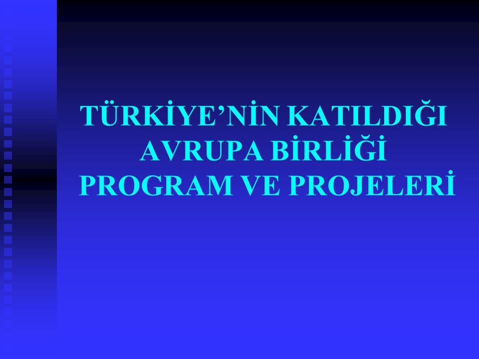 TÜRKİYE'NİN KATILDIĞI AVRUPA BİRLİĞİ PROGRAM VE PROJELERİ