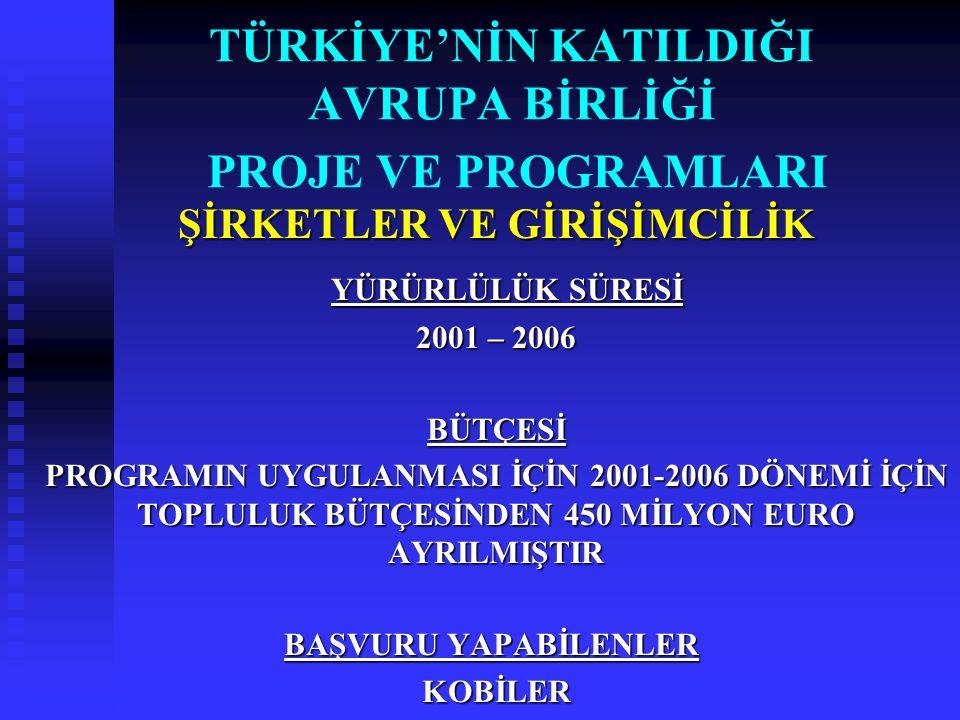 TÜRKİYE'NİN KATILDIĞI AVRUPA BİRLİĞİ PROJE VE PROGRAMLARI ŞİRKETLER VE GİRİŞİMCİLİK YÜRÜRLÜLÜK SÜRESİ YÜRÜRLÜLÜK SÜRESİ 2001 – 2006 BÜTÇESİ PROGRAMIN