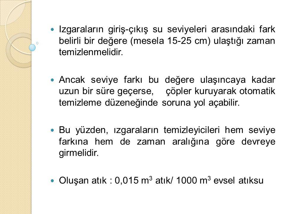 Izgaraların giriş-çıkış su seviyeleri arasındaki fark belirli bir değere (mesela 15-25 cm) ulaştığı zaman temizlenmelidir. Ancak seviye farkı bu değer