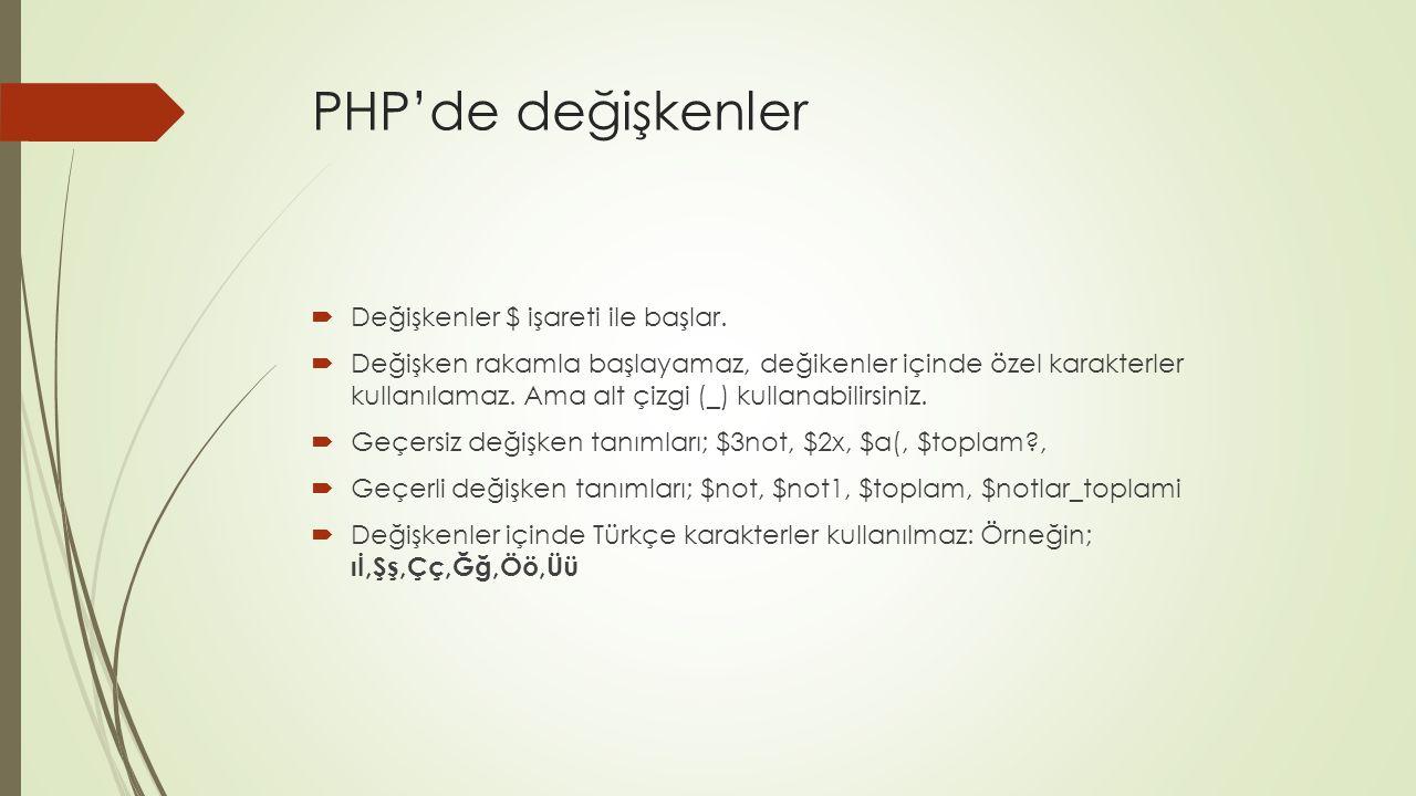 PHP'de değişkenler  Değişkenler $ işareti ile başlar.  Değişken rakamla başlayamaz, değikenler içinde özel karakterler kullanılamaz. Ama alt çizgi (