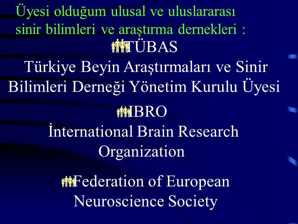 Üyesi olduğum ulusal ve uluslararası sinir bilimleri ve araştırma dernekleri :  TÜBAS Türkiye Beyin Araştırmaları ve Sinir Bilimleri Derneği Yönetim Kurulu Üyesi  IBRO İnternational Brain Research Organization  Federation of European Neuroscience Society