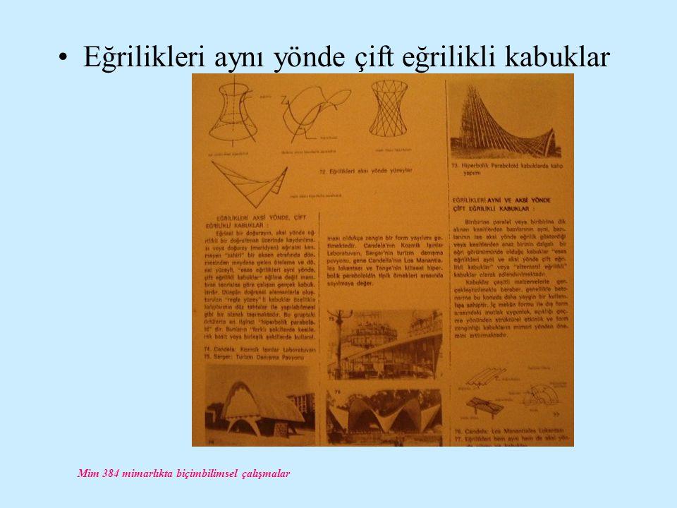 Mim 384 mimarlıkta biçimbilimsel çalışmalar Eğrilikleri aynı yönde çift eğrilikli kabuklar