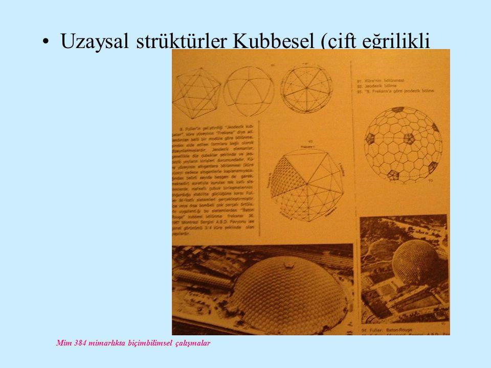 Mim 384 mimarlıkta biçimbilimsel çalışmalar Uzaysal strüktürler Kubbesel (çift eğrilikli