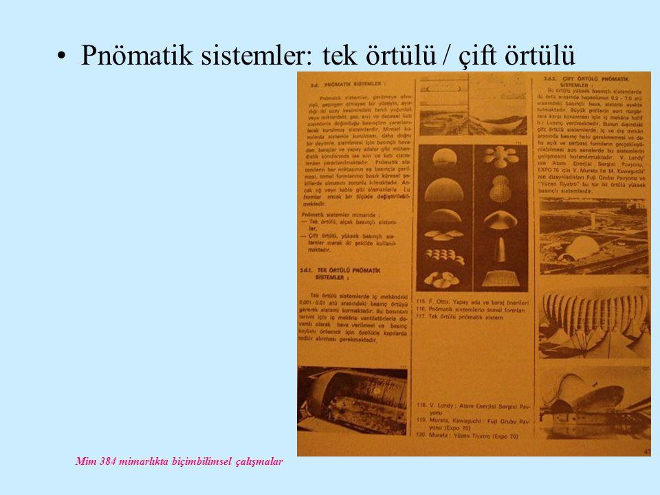 Mim 384 mimarlıkta biçimbilimsel çalışmalar Pnömatik sistemler: tek örtülü / çift örtülü