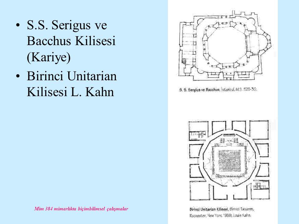 Mim 384 mimarlıkta biçimbilimsel çalışmalar S.S. Serigus ve Bacchus Kilisesi (Kariye) Birinci Unitarian Kilisesi L. Kahn