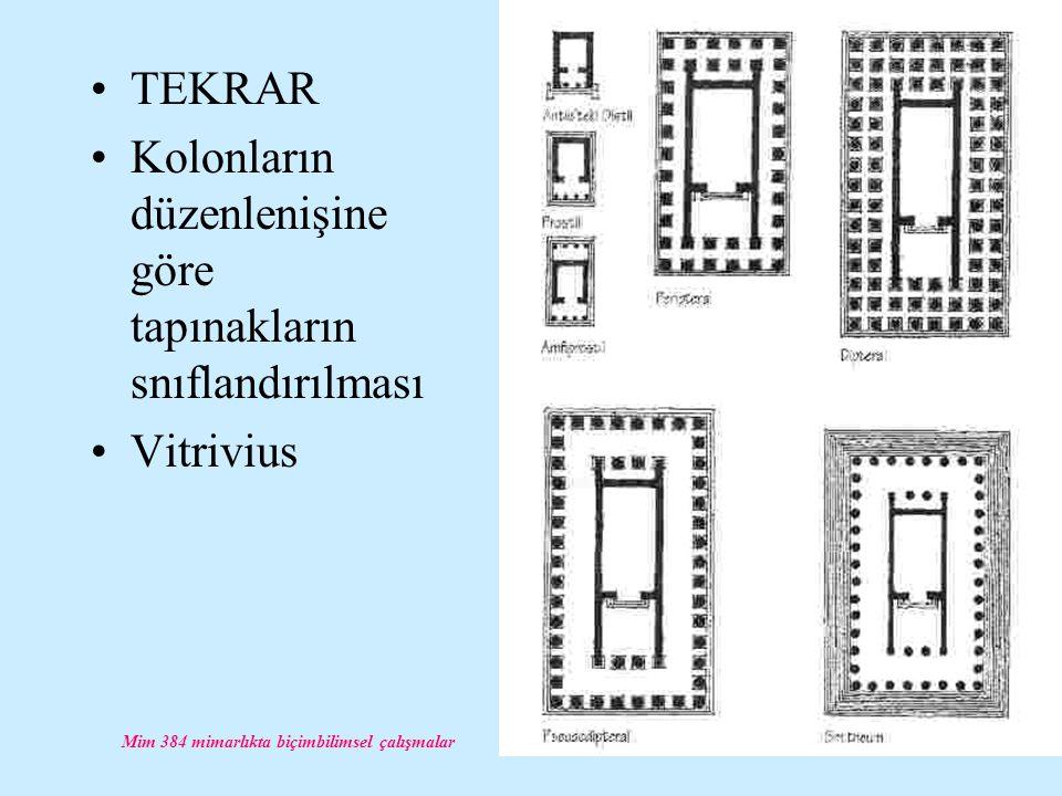 Mim 384 mimarlıkta biçimbilimsel çalışmalar TEKRAR Kolonların düzenlenişine göre tapınakların snıflandırılması Vitrivius
