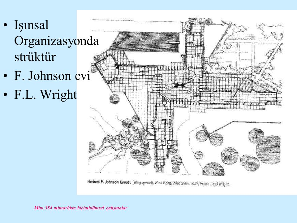 Mim 384 mimarlıkta biçimbilimsel çalışmalar Işınsal Organizasyonda strüktür F. Johnson evi F.L. Wright