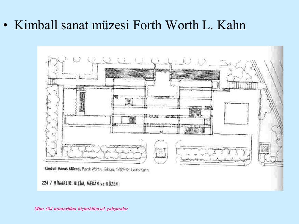 Mim 384 mimarlıkta biçimbilimsel çalışmalar Kimball sanat müzesi Forth Worth L. Kahn