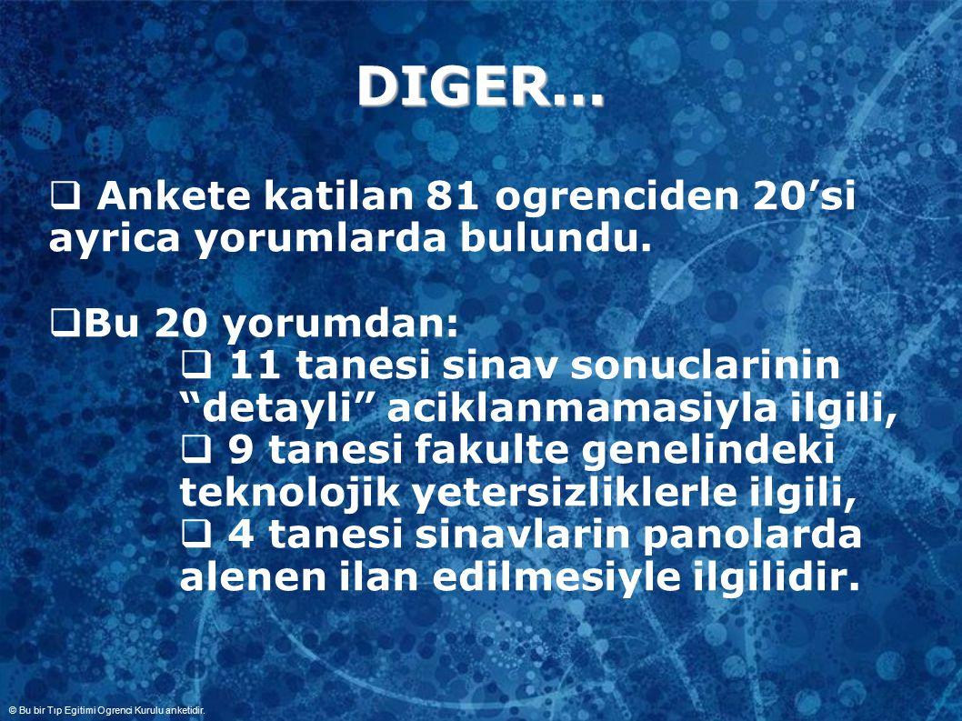 DIGER…  Ankete katilan 81 ogrenciden 20'si ayrica yorumlarda bulundu.