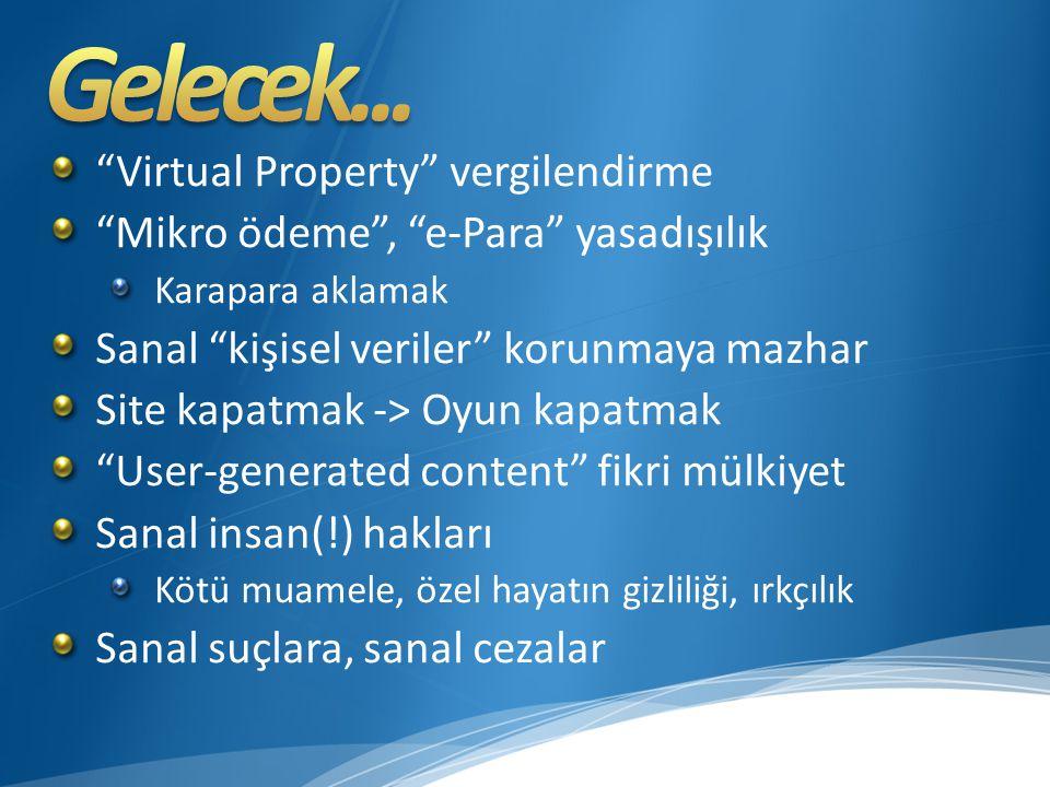 Virtual Property vergilendirme Mikro ödeme , e-Para yasadışılık Karapara aklamak Sanal kişisel veriler korunmaya mazhar Site kapatmak -> Oyun kapatmak User-generated content fikri mülkiyet Sanal insan(!) hakları Kötü muamele, özel hayatın gizliliği, ırkçılık Sanal suçlara, sanal cezalar