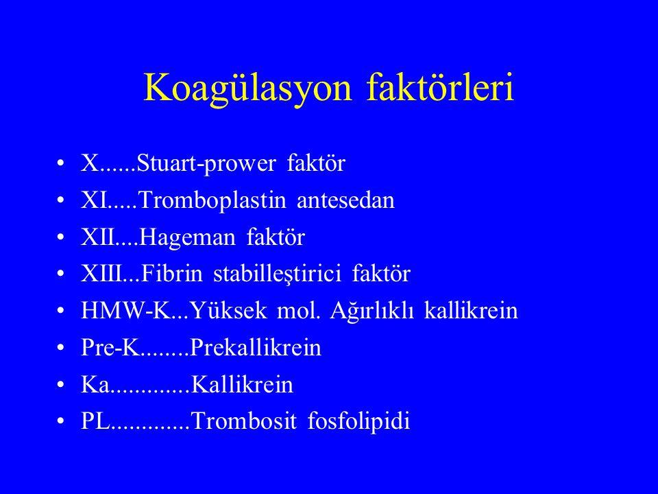 Koagülasyon faktörleri X......Stuart-prower faktör XI.....Tromboplastin antesedan XII....Hageman faktör XIII...Fibrin stabilleştirici faktör HMW-K...Y