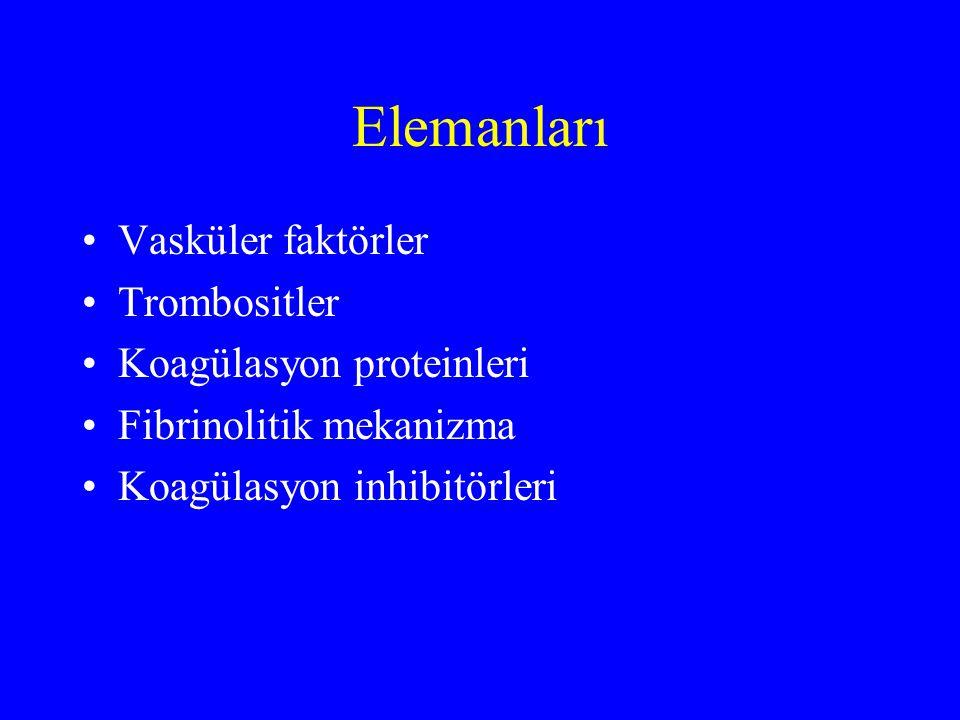 Elemanları Vasküler faktörler Trombositler Koagülasyon proteinleri Fibrinolitik mekanizma Koagülasyon inhibitörleri