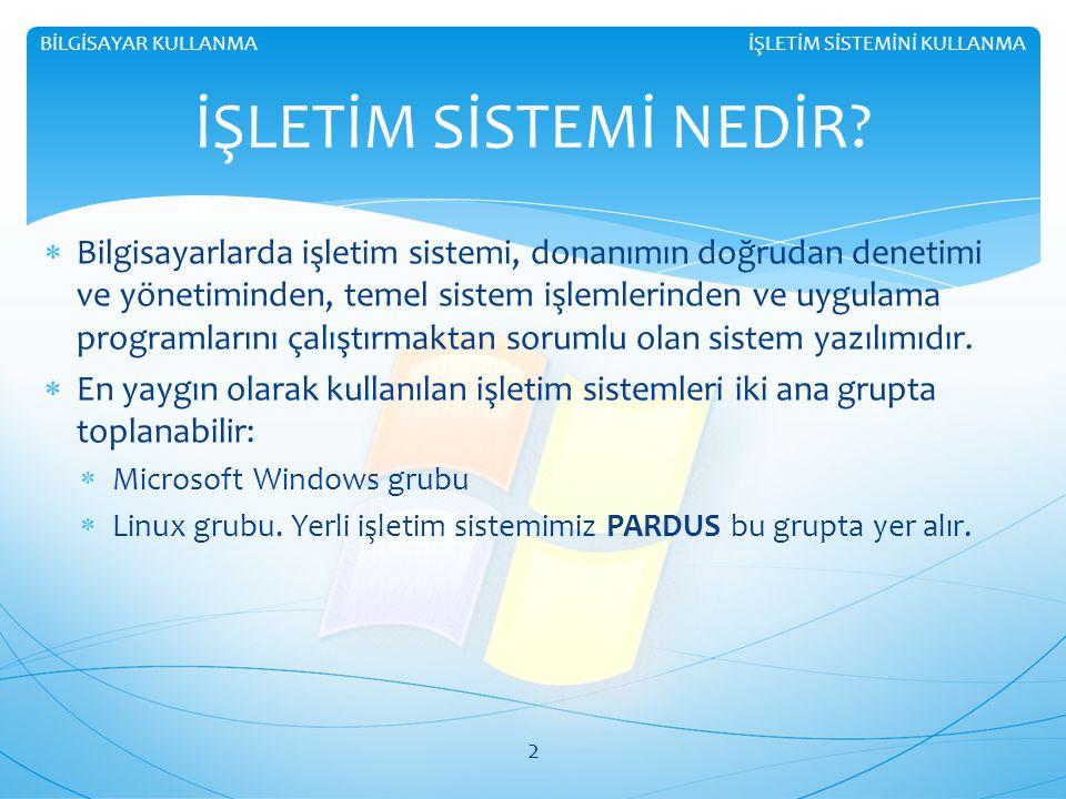  Bilgisayarlarda işletim sistemi, donanımın doğrudan denetimi ve yönetiminden, temel sistem işlemlerinden ve uygulama programlarını çalıştırmaktan sorumlu olan sistem yazılımıdır.