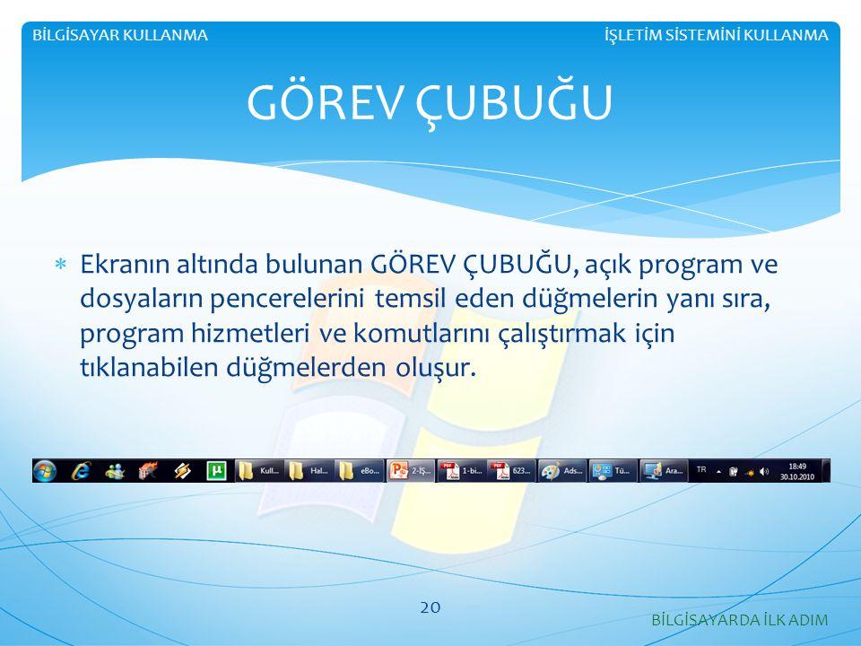  Ekranın altında bulunan GÖREV ÇUBUĞU, açık program ve dosyaların pencerelerini temsil eden düğmelerin yanı sıra, program hizmetleri ve komutlarını ç