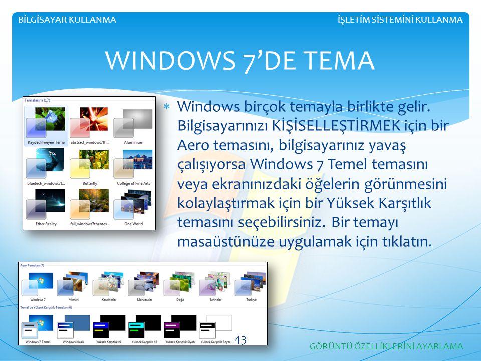 İŞLETİM SİSTEMİNİ KULLANMABİLGİSAYAR KULLANMA WINDOWS 7'DE TEMA  Windows birçok temayla birlikte gelir. Bilgisayarınızı KİŞİSELLEŞTİRMEK için bir Aer
