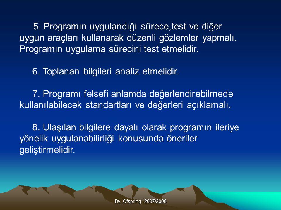 By_Ofspring 2007/2008 5. Programın uygulandığı sürece,test ve diğer uygun araçları kullanarak düzenli gözlemler yapmalı. Programın uygulama sürecini t