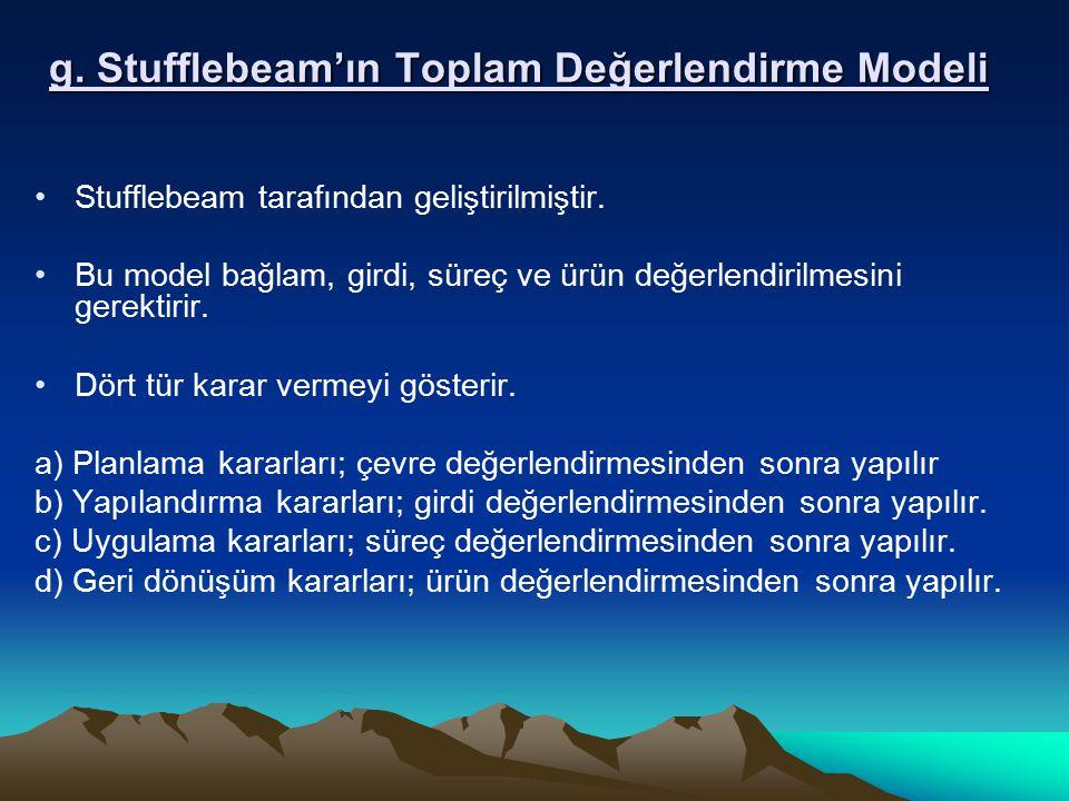 g. Stufflebeam'ın Toplam Değerlendirme Modeli Stufflebeam tarafından geliştirilmiştir. Bu model bağlam, girdi, süreç ve ürün değerlendirilmesini gerek