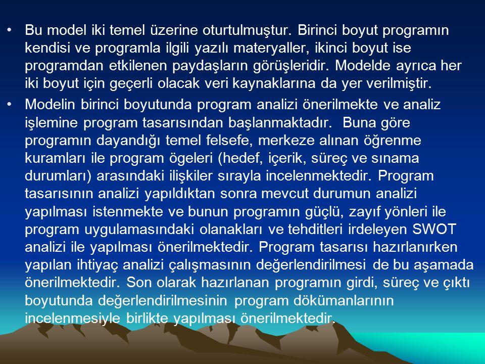 Bu model iki temel üzerine oturtulmuştur. Birinci boyut programın kendisi ve programla ilgili yazılı materyaller, ikinci boyut ise programdan etkilene