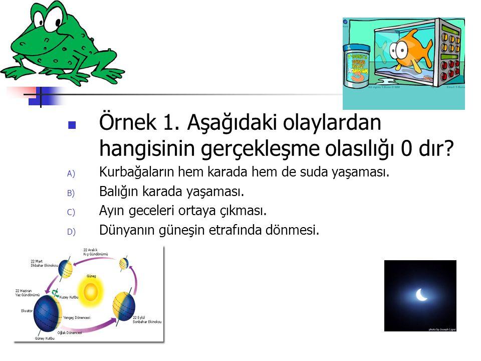 Örnek 1.Aşağıdaki olaylardan hangisinin gerçekleşme olasılığı 0 dır.
