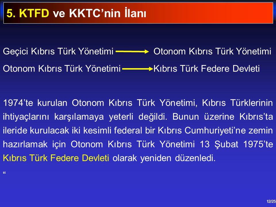 12/25 Geçici Kıbrıs Türk Yönetimi Otonom Kıbrıs Türk Yönetimi Otonom Kıbrıs Türk Yönetimi Kıbrıs Türk Federe Devleti 1974'te kurulan Otonom Kıbrıs Tür
