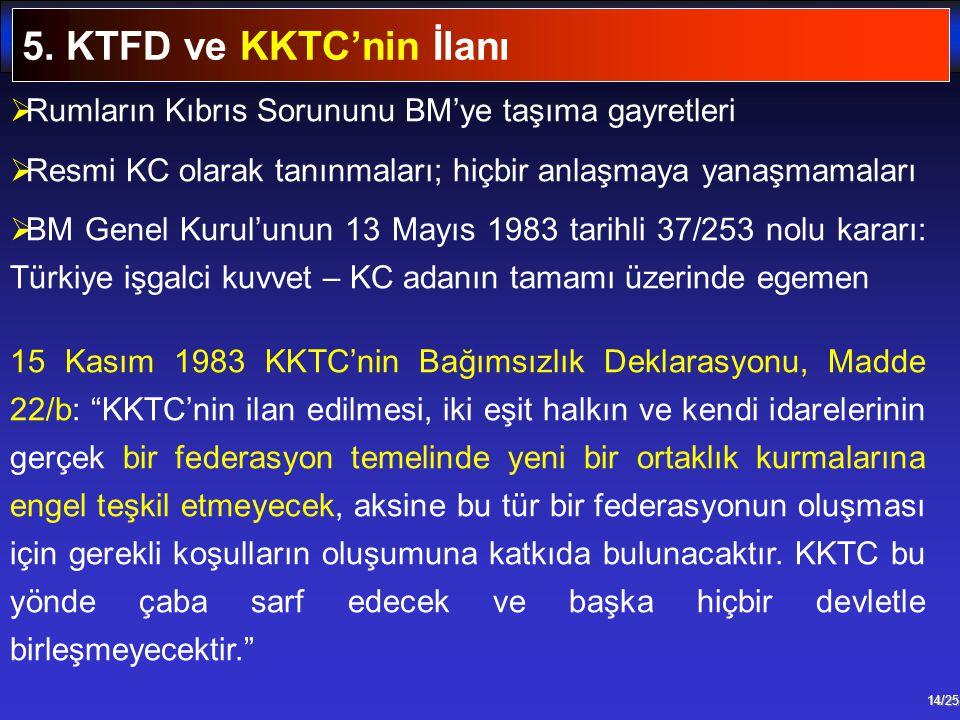 14/25  Rumların Kıbrıs Sorununu BM'ye taşıma gayretleri  Resmi KC olarak tanınmaları; hiçbir anlaşmaya yanaşmamaları  BM Genel Kurul'unun 13 Mayıs
