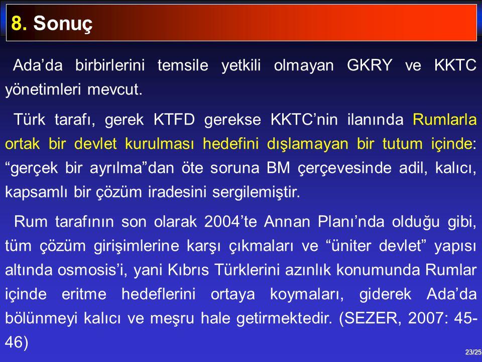 23/25 Ada'da birbirlerini temsile yetkili olmayan GKRY ve KKTC yönetimleri mevcut. Türk tarafı, gerek KTFD gerekse KKTC'nin ilanında Rumlarla ortak bi
